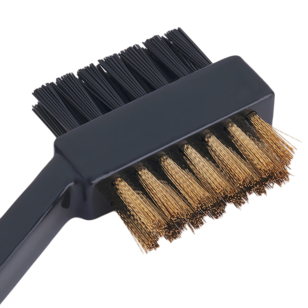 new 2 Sided Dual Bristles Brass Wires Golf Club Brush Groove Cleaner Kit Tool Black Useful Free Shipping(China (Mainland))