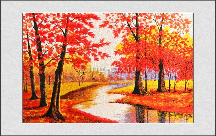 Suzhou embroidery sitting room Silk embroidery Rivers and maple trees painting wedding decoration craft home decor wall decor(China (Mainland))