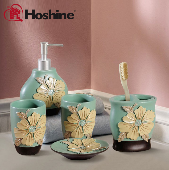 Hoshine brand 2015 new handicraft novelty peony flower for Fashion bathroom set