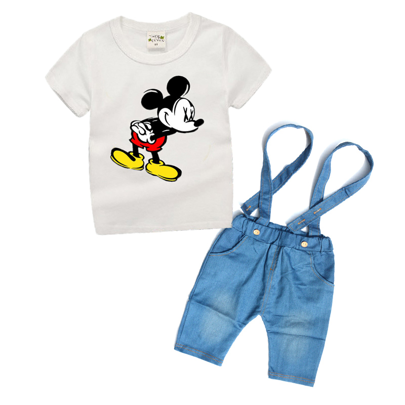 1-6 years Kids boy clothes set for Children Clothing Summer 2017 Latest Toddler Boys Clothing Set Denim Shorts+White T-shirt TD(China (Mainland))