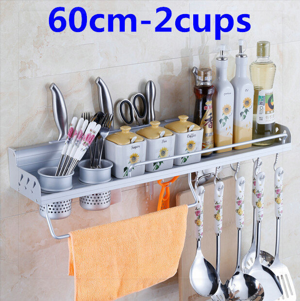 60cm 2 cups kitchen shelf with 10 hooks wall caster holder