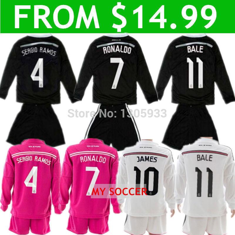 14/15 Soccer Jerseys Long Sleeve Real Madrid Kids 2015 Ronaldo Children Sets James Youth Kits Bale Boys White Pink Black Dragon(China (Mainland))
