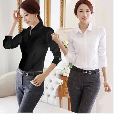 2015 OL White Shirt Women Cardigan Office Ladies' Long Sleeve Tops Black Slim Blouses & Shirts Women Work Shirt XS-2XL(China (Mainland))