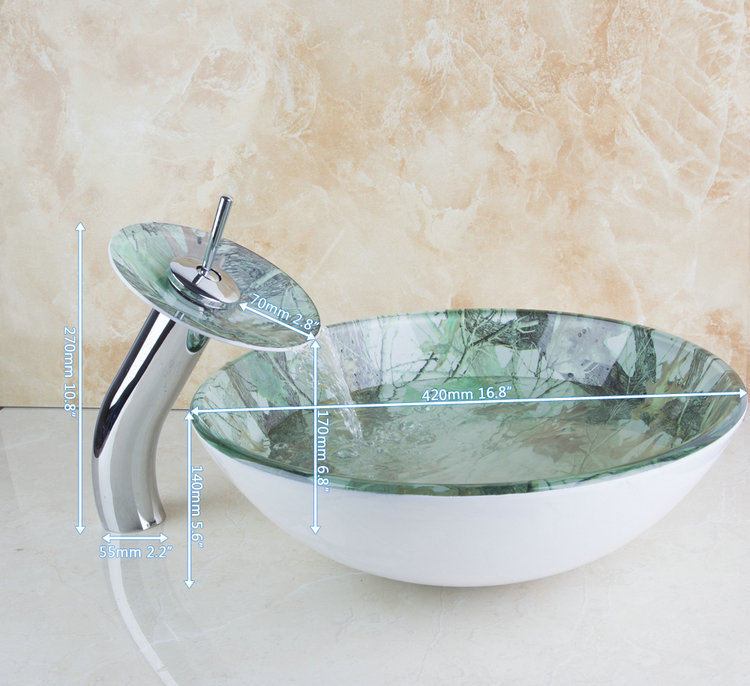 Contemporary Colorful Deck Mounted Construction Real Estate Bathroom Basin Sink Vessel Faucet Tap Lavatory Glass Basin