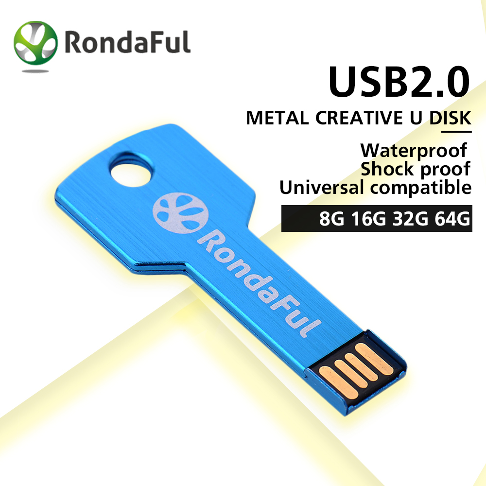Rondaful 4 colors USB Flash Drive Metal Key 4GB 8GB 16GB 32GB Pendrive Waterproof Pen Drive 64 GB USB 2.0 USB Stick Memory Stick(China (Mainland))