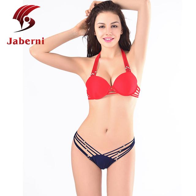 Красная сексуальная пляж микро-карты бикини повязка прикладом дамы страсть бюстгальтер купальники крючком бразильские майо де бейн лето плавать носить