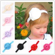 10Clrs New Fashion Hot children kids Baby girls satin flower  Headband Headwear Hair Band Head Piece Accessories