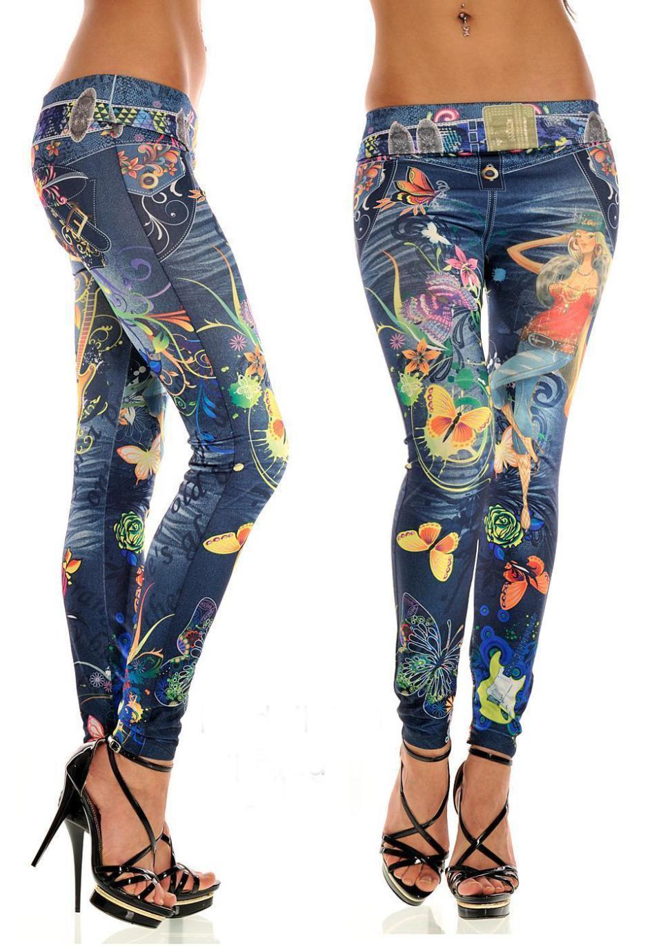 New Women Sexy Tattoo Jean Look Legging Sport Leggins Punk Fitness American Apparel Jeans Woman Pants 9052(China (Mainland))