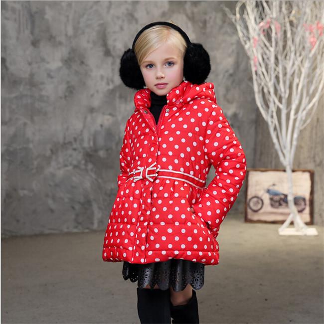 Скидки на 2016 НОВЫЙ горячий прибытие девушка dot печати хлопок jakcet пальто зимы детей и пиджаки пальто дети зимняя куртка Новый Высокое качество