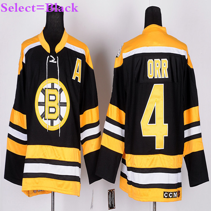 Mens #4 Bobby Orr Black Home Throwback Embroidery Hockey Jerseys White Gold High Quality(China (Mainland))