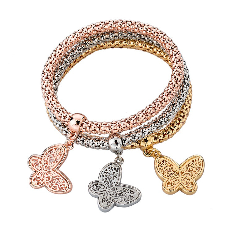 2014 Top Quality 3 PCS Bracelet Bangle Fashion Jewelry Gold Silver Bracelets Round Charm Bracelets For Women SBR140339