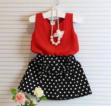2016 summer girls clothes; Dot bow girls clothes set; Chiffon Sleeveless+ skirt kids sport suit; girls summer sets