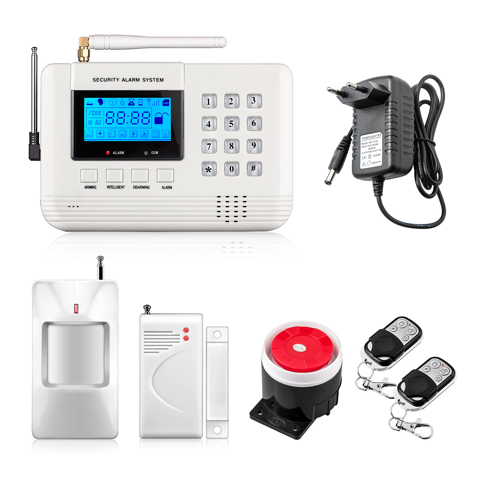 New arrivel LCD Screen 433Mhz Remote Control Wireless GSM sms call PSTN phone line dual network Home Security gsm Alarm System(China (Mainland))