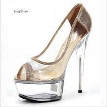 CDTS Plus:35-45 46 2016 Summer sandals 15cm thin high heels pumps women 5CM platform wedding shoes(China (Mainland))