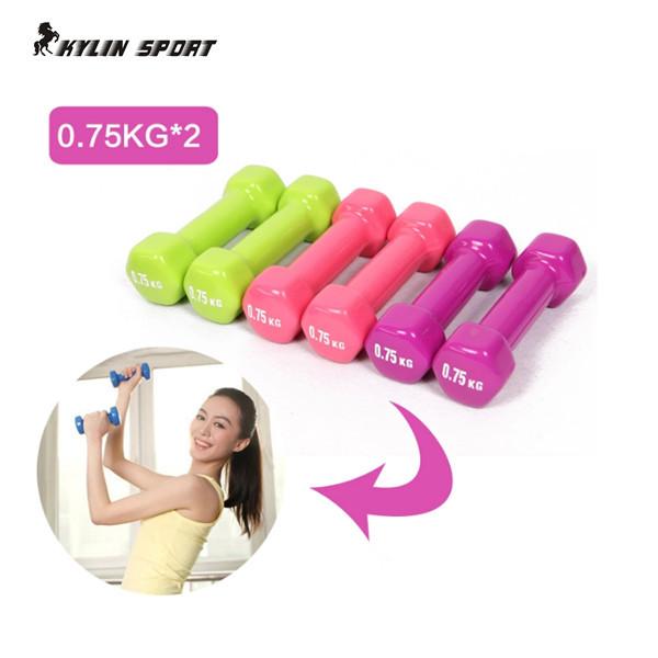 women's dumbbell professional 0.75kg*2 bones home fitness sports equipment weight loss plastic 1.5kg dip multicolour in dumbbell