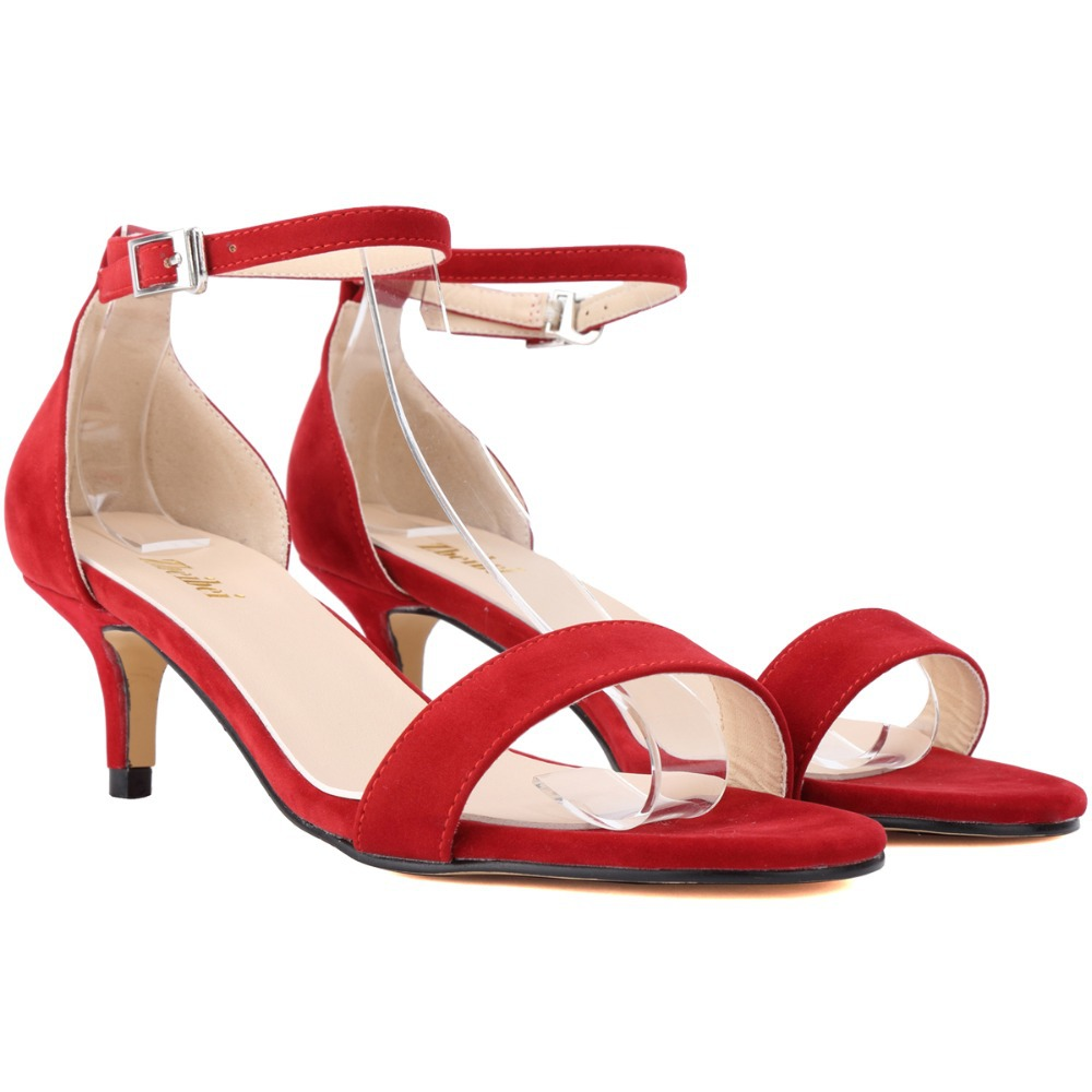 Red Peep Toe Shoes Low Heel - Is Heel
