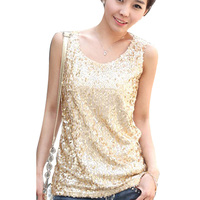 Fashion Sequined Tank Top 2015 Clearance Women Vest Super Big 4XL Women Tops Shirts Sleeveless Summer Style Tank Tops Hot Sale D