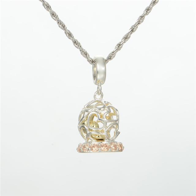 Стерлингового серебра 925 пробы украшения открытое в форме сердца кубок вымощает полудрагоценные камни бусины DIY стерлингов - серебристо-ювелирные подходит европейским очаровывает браслеты