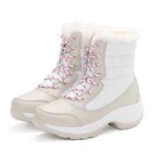 Kadın Botları Su Geçirmez Kış Ayakkabı Kadın Kar Botları Platformu Tutmak Sıcak Ayak Bileği Kış Çizmeler Ile Kalın Kürk Topuklu Botas Mujer 2019(China)