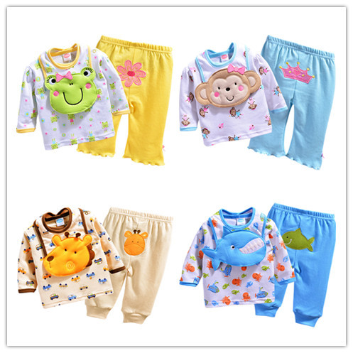 new baby clothing set 12m-24m baby clothes set 3pcs/lot bib+t shirt+pants