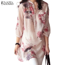 Buy ZANZEA 2017 Summer Women Blusas Vintage Floral Printed Blouses Elegant 3/4 Sleeve Casual Loose Long Tops Shirts Plus Size for $8.49 in AliExpress store