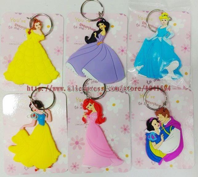 Wholesale Mixed 50pcs Classic/lovely princess Double sided Rubber Key rings Key Chain LU44(China (Mainland))
