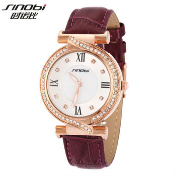 High Quality Famous Sinobi Brand Design Women Watch Full Crystal Gold Dress Watch Genuine Leather Clock