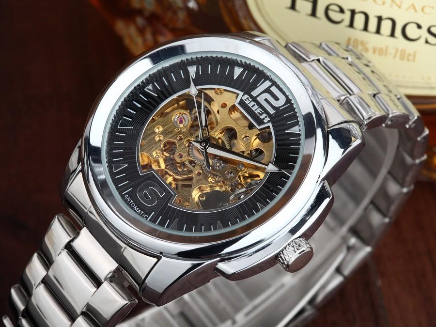GOER бренд мужской цифровые часы механические Мужской нержавеющей стали водонепроницаемый Движение Скелет Световой