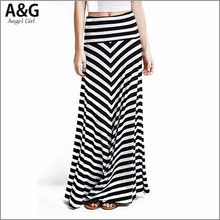 2015 New Spring Autumn and Winter skirts womens high waist skirt ladies saia maxi striped print skirts for women AG-2708(China (Mainland))