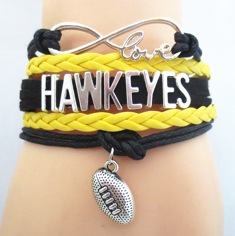 Infinity Love Hawkeyes football college Team Bracelet black yellow Customized Wristband friendship Bracelets B09193(China (Mainland))