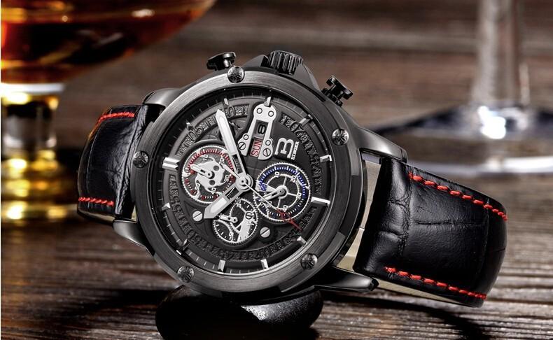 2016 Бингер Новый Мужчины Часы Кожаный Ремешок Аналоговый Дисплей Кварцевые Часы Мужские Люксовый Бренд Часы Моды Случайные Спортивные Наручные Часы