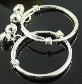 Retail Fashion 925 Silver Newborn infant Children Kid Baby Bell Bangle Bracelet(China (Mainland))