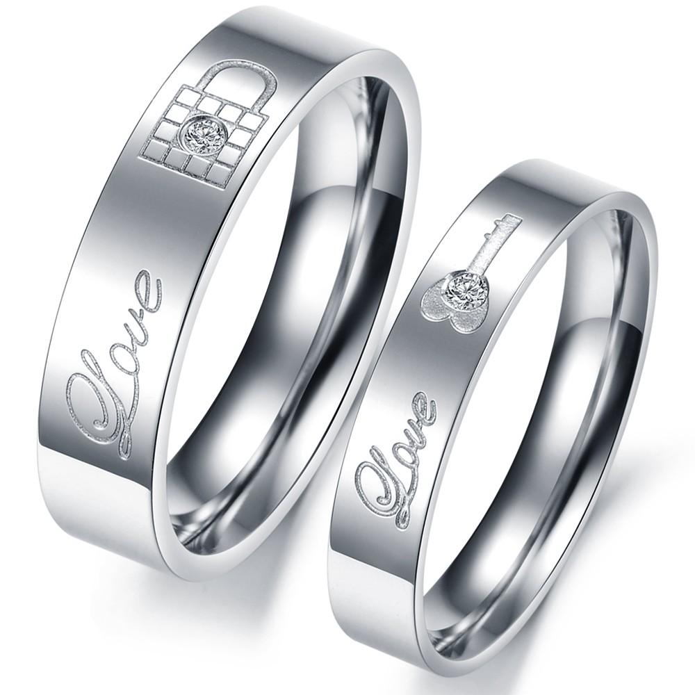 1 Piece Price LOCK & KEY Engraving Couple Rings Full Stainless Steel Men/Women Romantic Wedding Jewelry ,JM313(China (Mainland))