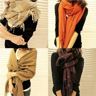 Free shipping New Thermal warm fall winter faux cashmere oversized scarf tassel cape woman solid color fashion grid scarves
