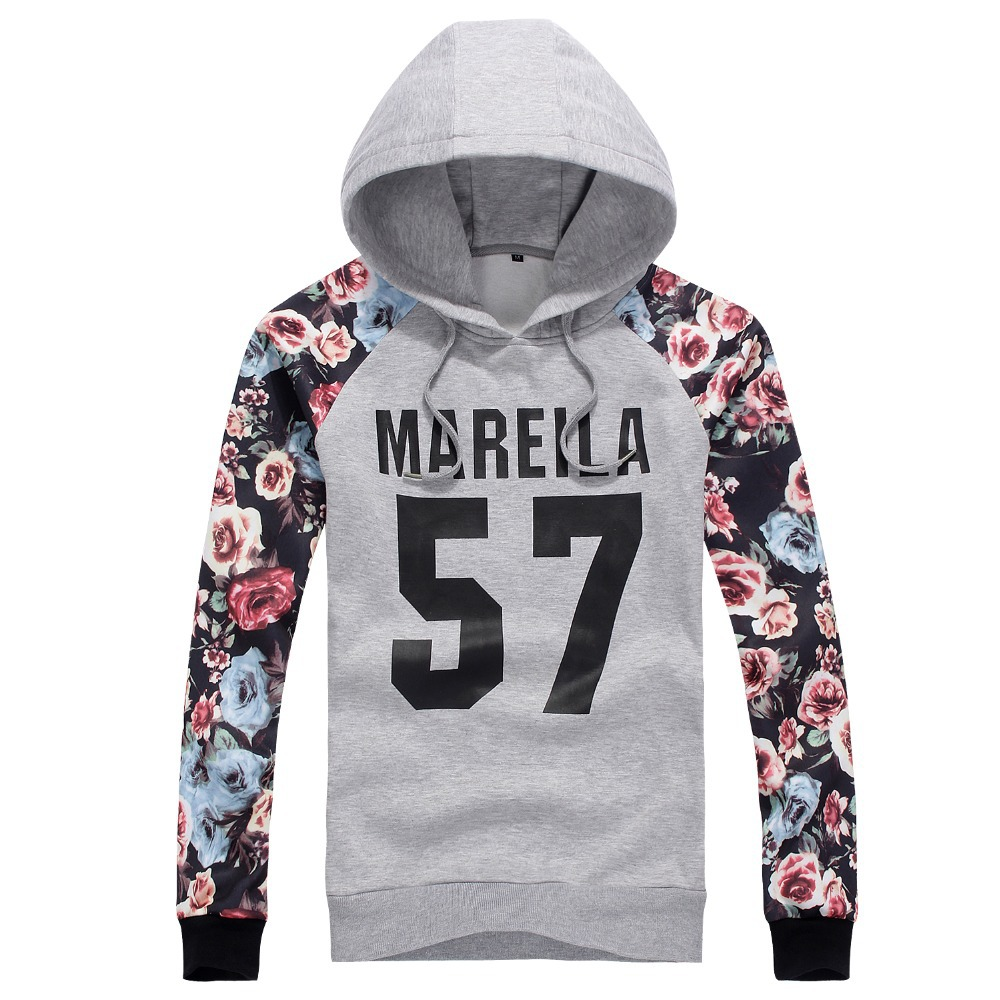 2015 NEW mens Fleece hoodies Floral Rose print sleeve men tops casual hip hop hoodies plus size M-2XL mareila 57 overpull,JA412(China (Mainland))