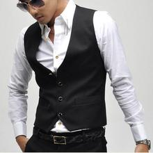 Men Suit Vest Business Dress Formal Suit Blazer Vest Chaleco Hombre Plus Size XXXL XXXXL Black Fashion Gilet Homme Men Suit Vest