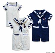2014 New Retail Baby Boy Romper Sailor Seaman Bebe Navy Costume Summer Short Sleeve kids clothes