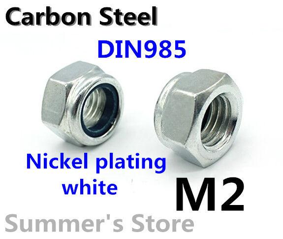 100pcs/lot DIN985 Nylon Lock Nut M2 Nylon Tighten self-locking Nut M2 Nylon Insert Lock Hex Nuts M2 white nickel plating(China (Mainland))
