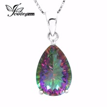 Brand New Set 4.5ct Genuine Rainbow Fire Mystic Topaz Classics Concave Pear Pendant Necklace Women Solid 925 Sterling Silver(China (Mainland))