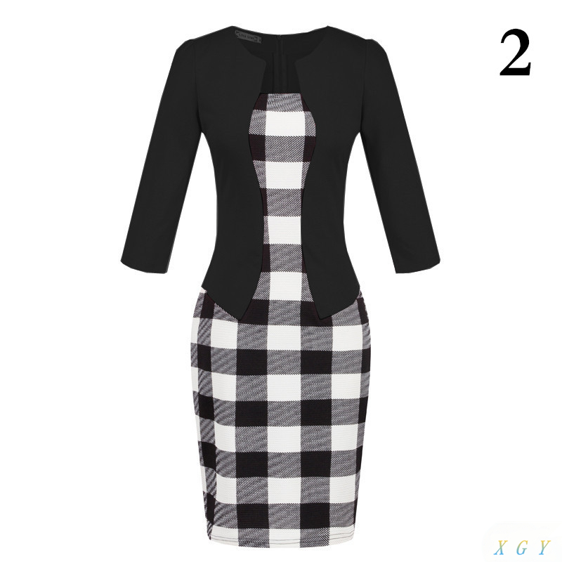 New Fashion Women Dress Formal Pencil Dress Print Flower Plaid Office Wear Work Clothes Attachment Belt Women Clothing Gifts