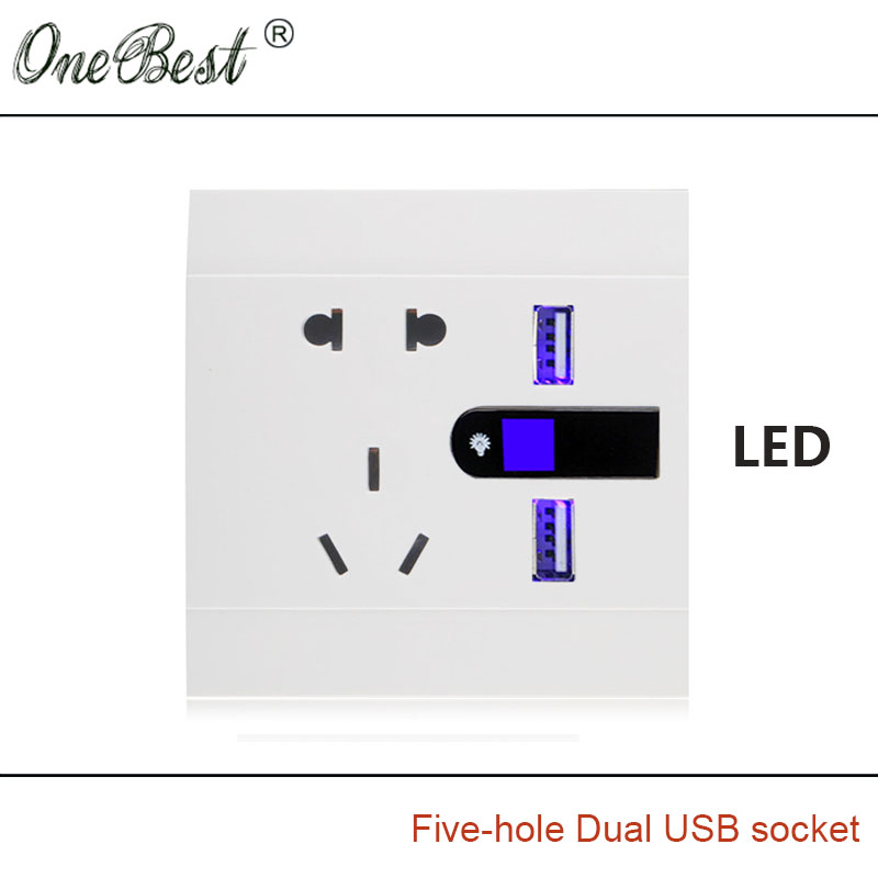 National Standard 5-Hole Wall Socket AC110-250V Dual USB 5V 2100mA With LED 86 International General Outlet Free Shipping(China (Mainland))