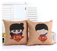 Heart Couples Cotton Linen Sofa Cushion Cover