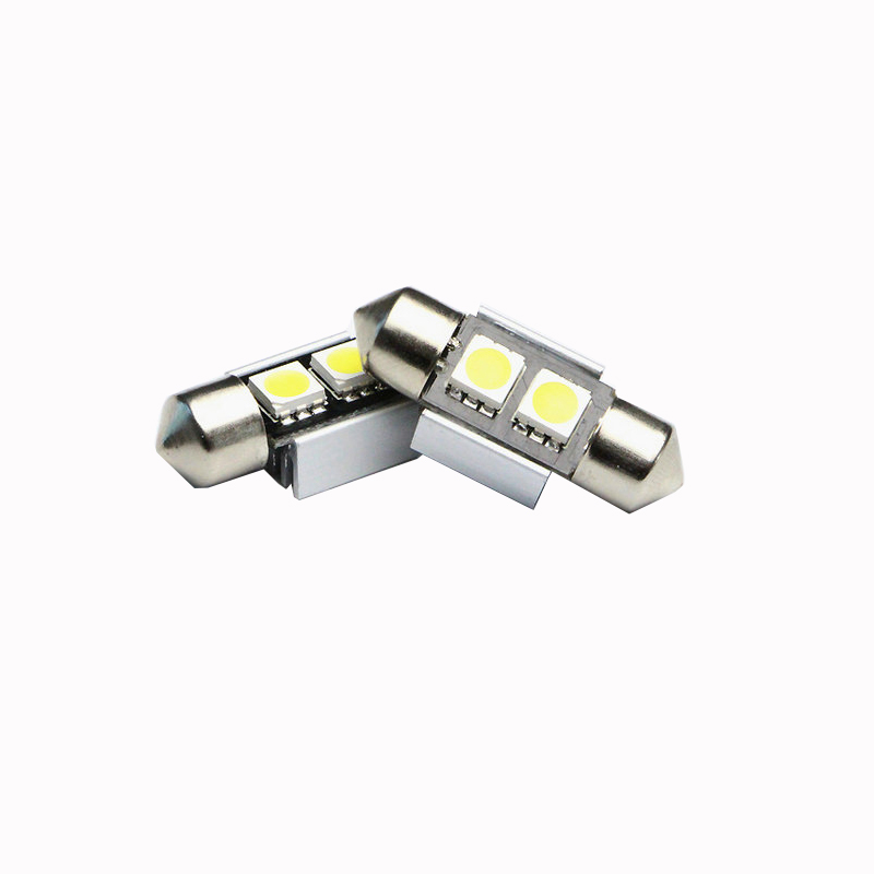 10 pcs 31mm C5W 2 LEDS SMD5050 Sink Canbus Led Festoon Light white blue red yellow green car interior lights small led bulb(China (Mainland))