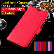 Business Style Lychee PU Leather Mobile Phone Back Cover Case For LG L9 II D605 Card Holder CellPhone Stand Function Filp Wallet