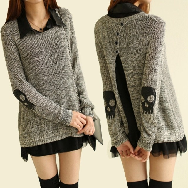 Skull black and white line sweater chiffon shirt twinset for Black sweater white shirt