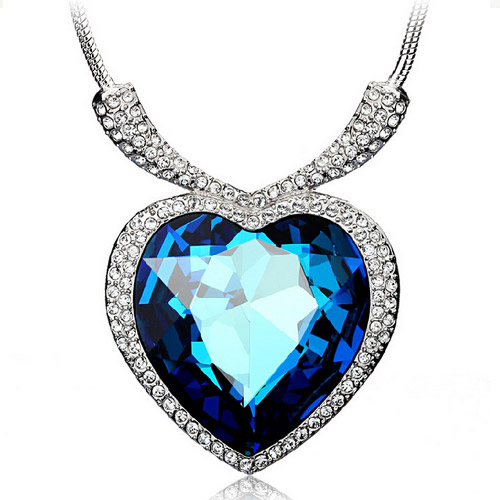 [MASCUBE]Women Necklaces Pendants Full Rhinestones Crystal Heart Of Ocean Fashion Jewelry Women's Dress 2016 Mother's Day Gift(China (Mainland))