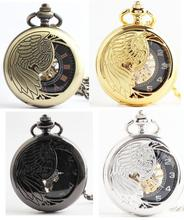 large size 4.7cm 4 colors Vintage mechanical pocket watch hollow out peacock carve patterns men's pocket watch(China (Mainland))