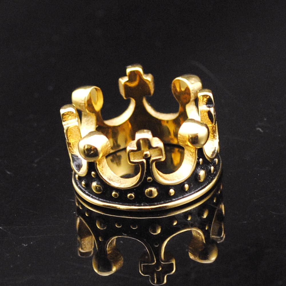 2016 Hot 18K Gold Plated Stainless Steel Ring Crown King Mens Rings Wedding Jewelry Domineering