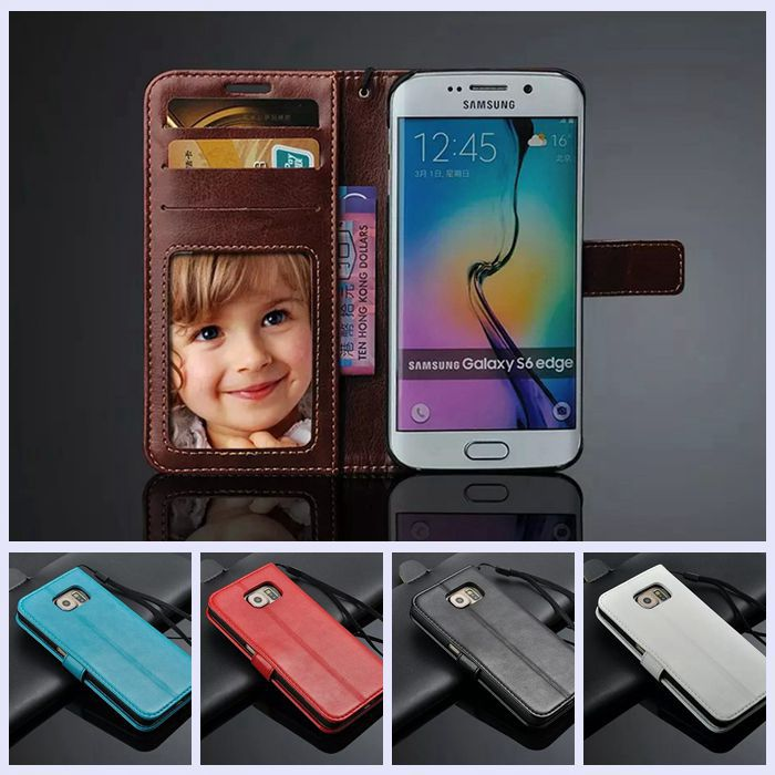 Luxury Card Case For Samsung galaxy s6 edge Leather Skin Back Cover Shell Cell phone Cases for Samsung S6 edge vans copa para(China (Mainland))