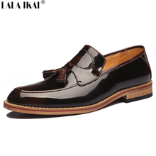 2015 Oxford Shoes for Men Slip On Patent Genuine Leather Men Dress Shoes Tassels Vintage Brogues Men Shoes Leather XMC0171-5(China (Mainland))